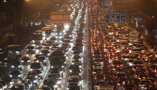 北京下班堵車場面
